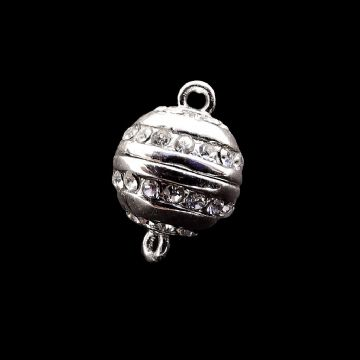 Silver Plated Magnetic Clasp, Ball with Rhinestones 8.5mm x  1pcs